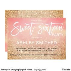 Retro gold typography pink watercolor Sweet 16 Card