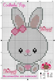 Dhebyart: Coelhinha Fofa Crochet Snowflake Pattern, Tapestry Crochet Patterns, Crochet Wall Hangings, Crochet Amigurumi Free Patterns, Cross Stitch Boards, Mini Cross Stitch, Simple Cross Stitch, Cross Stitch Animals, Cross Stitching