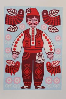 Red Bulgarian Folk Man, by Karoline Rerrie Chicken Painting, Scandinavian Folk Art, Russian Folk, Folk Fashion, Sketch Inspiration, Arte Popular, Naive Art, Folk Costume, Indian Art