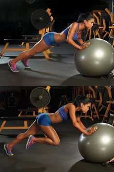 Your Ultimate Tightening Tool -stability ball recruits more muscles than standard strength moves alone. Check out the website to see Fitness Motivation, Fitness Goals, Fitness Tips, Fitness Quotes, Gym Workouts, Ball Workouts, Heath And Fitness, Muscle Fitness, Fitness Nutrition