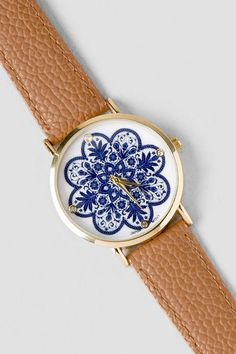 "The+Bauer+Boho+Watch+is+a+perfect+addition+to+your+casual+look. +This+tan+watch+features+a centered,+navy+floral+print+&+rhinestone+accents+on+the+watch+face. +Pair+this+with+your+jeans+and+flowy+blouse+for+a+complete+look.<br+/>  <br+/>  -+1.5""+face+diameter<br+/>  -+.75""+band+width<br+/>  -+Battery+operated<br+/>  -+Twist+crown+to+set<br+/>  -+Imported"