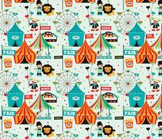 Circus animal fun fair print fabric by littlesmilemakers on Spoonflower - custom fabric