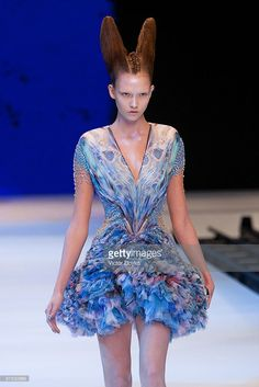 A model walks the runway during Alexander McQueen Pret a Porter show as part of the Paris Womenswear Fashion Week Spring/Summer 2010 at Palais Omnisports de Bercy on October 6, 2009 in Paris, France.