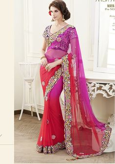 splendid orange with red mix shaded net #designer #wedding #saree having with embroidery order also blouse.