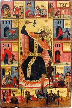 The Icon Gallery-Ohrid is one of worlds' most significant icon galleries. These icons are very important segment of the Byzantine art in general. Byzantine Icons, Byzantine Art, Religious Icons, Religious Art, Orthodox Catholic, Russian Orthodox, Ste Marguerite, Russian Ark, Fighting Demons