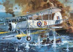 II Airfix box art by Roy Cross - Swordfish of 816 Royal Navy Air Squadron 1943 Military Photos, Military Art, Ww2 Aircraft, Military Aircraft, Fairey Swordfish, War Thunder, Aircraft Painting, Cross Art, Flying Boat