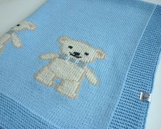 """Do knit Yourself this cute blanket!Take your needles enjoy knitting this cute baby blanket """"James"""". The baby blanket is knitted in one piece in knit and purl stitches and after decorated with 6 littles teddies by using duplicate stitch technique.♥ This listing is 1 PDF file of 3 pages with the written instructions and the chart for the teddy.♥ This pattern is written in English♥ This blanket is knitted from 100 % Merino wool, however, any style of yarn will work to create this kni..."""