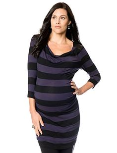 Seraphine 34 Sleeve Drape Neck Faux Leather Trim Maternity Tunic BlueBlack Stripe 6 ** Read more  at the image link.