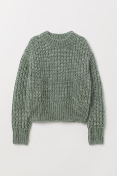 Chunky-knit jumper in a soft wool and mohair blend with a stand-up collar, dropped shoulders, long sleeves and ribbing at the cuffs and hem. Knit Sweater Outfit, Pullover Outfit, Green Sweater, Sweater Fashion, Crop Pullover, Pullover Sweaters, Chunky Knit Jumper, Chunky Knits, Mohair Sweater