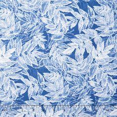 Ice - Frosted Leaves Peri Metallic Yardage