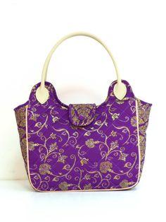 Handmade Plum Exclusive Thai fabric Tote Bag | Handmade Unique Thai Silk Fabric Tote Bags and Accessories | Bell and Mom www.bellandmom.com