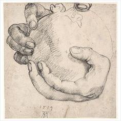 "Albrecht Dürer – Hand Holding a Pomegranate (Study for the ""Portrait of Emperor Maximilian I""), 1519, Black chalk   Albertina, Vienna"
