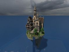 Hustin Manor minecraft house floating 2