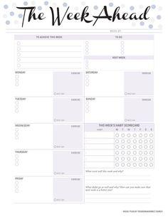 The week ahead week planner blank PDF printable