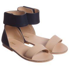 Chloé Blue & Tan Leather Sandals at Childrensalon.com