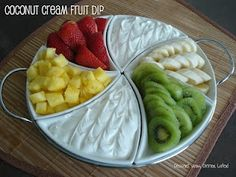 coconut cream fruit dip: only 3 ingredients. Pinner~'Not even kidding, this is the best dip you will ever try!!'.