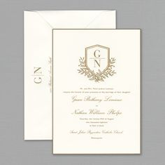 Vera Wang Engraved Gold Bordered Oyster Wedding Invitation