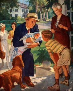 John Newton Howitt - Family Welcoming Newborn Home Vintage Advertisements, Vintage Ads, Vintage Prints, Vintage Paintings, Vintage Pictures, Vintage Images, John Newton, Posters Vintage, Vintage Housewife