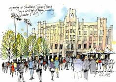 James Richards - Opening of Sundance Square Plaza in Fort Worth (Urban Sketchers)
