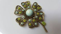 Art Signed Flower Brooch Blues #artdecoeames #jewellery
