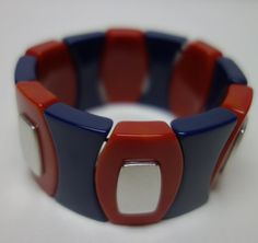 YSL Yves Saint Laurent Red and Blue Stretch by Vintageables