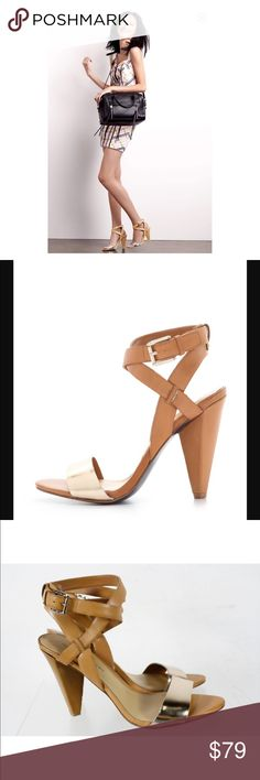 Rebecca Minkoff Gold and Tan Cone Heel Sandals Gorgeous Rebecca Minkoff Gold and tan cone heels dress sandals.  All leather. Very good condition. Strut! 💃🏼 Rebecca Minkoff Shoes