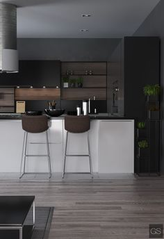 Minimal yet Elegant Kitchen Design Ideas - The Architects Diary - - Minimal Kitchen Design Inspiration is a part of our furniture design inspiration series. Minimal Kitchen design inspirational series is a weekly showcase. Minimal Kitchen Design, Minimalist Kitchen, Interior Design Kitchen, Dark Wood Furniture Living Room, Ok Design, Dark Kitchen Cabinets, Floors Kitchen, Elegant Kitchens, Home Kitchens