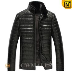 CWMALLS Quilted Leather Down Jacket with Fur Collar CW846025 Designer stylish qulited leather mens jacket with down filled,that's unmatched for winter warmth. Classics black down leather down jacket featuring with supple smooth natural sheepskin leather and removable mink fur collar. www.cwmalls.com PayPal Available (Price: $597.89) Email:sales@cwmalls.com