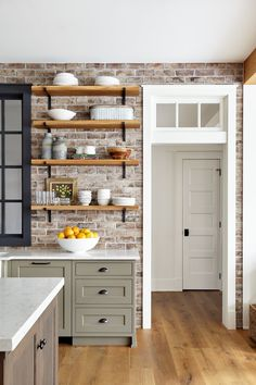 Brick Backsplash is Savannah Gray brick . Brick Backsplash is Sava Kitchen Redo, Kitchen Styling, New Kitchen, Kitchen Remodel, Kitchen Ideas, Kitchen Colors, Kitchens With Brick Walls, Brick Wall In Kitchen, Open Shelving In Kitchen