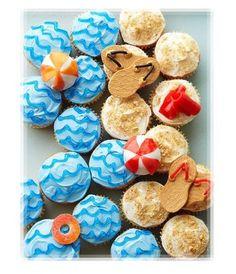 Beach cupcakes! Summer Cupcake Inspirations – Beach & Ocean Themed (Part 2) | Home Seasons - Holiday Decorations & Seasonal Decor Swim Party Cupcakes, Beach Cupcakes, Summer Cupcakes, Cute Cupcakes, Cupcake Party, Birthday Cupcakes, Cupcake Cookies, Themed Cupcakes, Ladybug Cupcakes