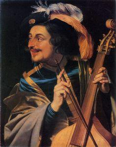 Gerard van Honthorst (Gerrit van Honthorst) (Dutch, 1590 – 1656) - Man with Viola da Gamba, 1631
