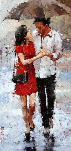 Amoureux (Series by Andre Kohn Oil on canvas Impressionist Paintings, Landscape Paintings, Umbrella Art, Beautiful Paintings, Figure Painting, Figurative Art, Art Gallery, Fine Art, Santa Barbara