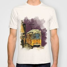 Retro Tram 2 in Budapest – T-shirt, All over T-shirts, Canvas prints, Gift cards, Tote bags, iPhone cases, iPad sleeves... etc.   Design by András Balogh   City designs / Ruin Pub City series