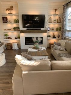 Fireplace Shelves, Fireplace Built Ins, Shiplap Fireplace, Home Fireplace, Fireplace Remodel, Living Room With Fireplace, New Living Room, Home And Living, Living Room Decor