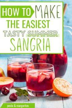 Sangria is the classic summer party drink and it a lot easier to make than you might think. Check out these ideas and tips on how to make summer sangria and how to change up classic recipes for something a little different Fun Cocktails, Fun Drinks, Yummy Drinks, Beverages, Summer Drink Recipes, Sangria Recipes, Summer Food, Summer Sangria, Refreshing Summer Drinks
