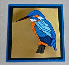 Kingfisher Bird Iris Folding Pattern on Craftsuprint designed by Sarah Edwards - made by Julianne Harris - This is my first go at Iris folding and it wasn't was hard as I thought. It comes with good instructions that are easy to follow. However, I'd recommend using thin paper. The finished card looks amazing and well worth the effort. I made my design on a copper backing and then placed it onto a black glitter paper 'mat' and then onto a dark blue card. - Now available for download!