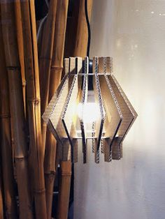 Cardboard lamp, made of recycled materials.