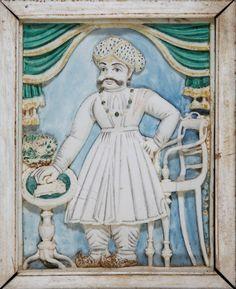 Carved polychrome ivory relief plaque of Mummadi Krishnaraja Wodeyar of Mysore, India, 19th century