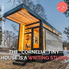"""The """"Cornelia"""" tiny house is a long writing studio built for international best-selling author Cornelia Funke! Features a living area with a writing. Tiny House Kits, Tiny House Loft, Tiny House Living, Tiny House On Wheels, Loft Home, Small Living, Container Home Designs, Container House Plans, Tiny House Shipping Container"""