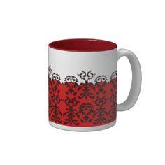 Red Damask Border Elegant Goth Bar ware Coffee Mug by Gothic Home