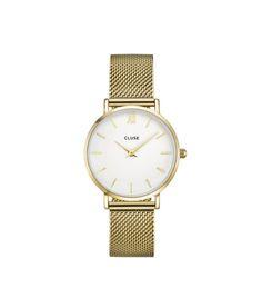 Cluse Hodinky Minuit Mesh Gold/White