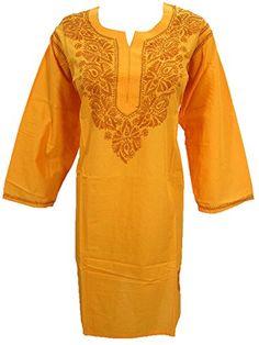 Yellow Long Kurti Womens Tunic Top Embroidered Cotton Dress Caftan X Large Mogul Interior http://www.amazon.com/dp/B011IAL99Q/ref=cm_sw_r_pi_dp_N3oPvb1X0AJY3