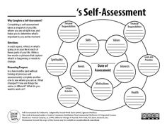 Self Assessment. This is a great tool to take a snapshot of a person's life at a point in time. It keeps challenges in perspective and assists a person to identify their strengths. Activities For Teens, Counseling Activities, School Counseling, Social Work Activities, Social Work Worksheets, Self Esteem Worksheets, Self Esteem Activities, Confidence Building Activities, Health Activities