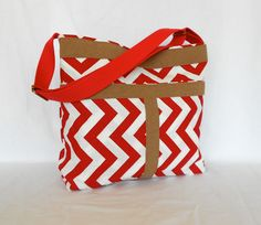 Red and White ZigZag Shoulder Bag  Messanger Bag Tote Bag. $65.00, via Etsy.