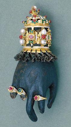 Lave Hand Pendant - hand shaped, Germany or Spain, ca. Renaissance Jewelry, Renaissance Era, Medieval Jewelry, Ancient Jewelry, Hand Jewelry, Enamel Jewelry, Antique Jewelry, Vintage Jewelry, Art Nouveau