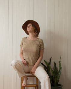 Vintage natural ramie top, size M