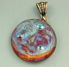 Raku Moonface Pendant by elementspottery on Etsy, $14.00