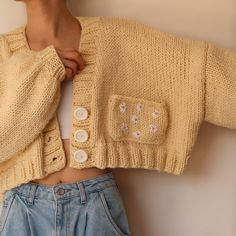 Rainbow Cardigan, Yellow Cardigan, Trendy Outfits, Cool Outfits, Summer Outfits, How To Make Clothes, Diy Clothes, Cute Crochet, Knit Crochet