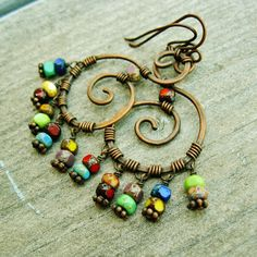 Hammered Copper Swirls with Czech Picasso glass bead dangles wire wrapped earrings by BearRunOriginals on Etsy