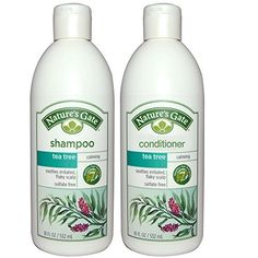 Natures Gate All Natural Organic Calming Tea Tree Oil Shampoo and Conditioner Bundle With AntiDandruff Flaky Scalp Treatment Jojoba Witch Hazel Borage Rosemary Mint and Nettle 18 fl oz each >>> Want additional info? Click on the image.